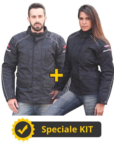 Kit DoubleR  - Giacca moto uomo + Giacca moto donna  - Befast Range Nero