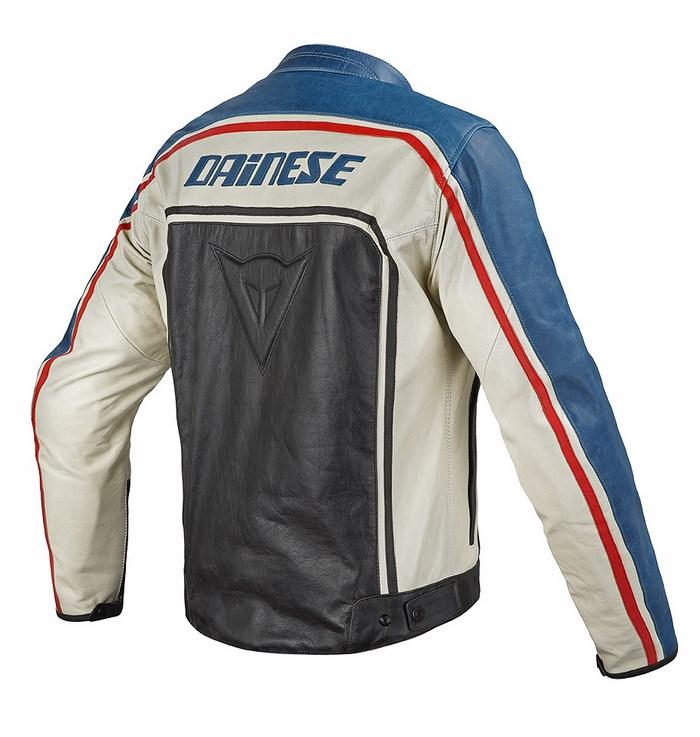Giacca moto pelle Dainese Tourage Vintage nero blu ghiaccio