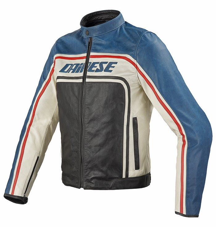 Dainese Tourage Vintage leather jacket black-blue ice