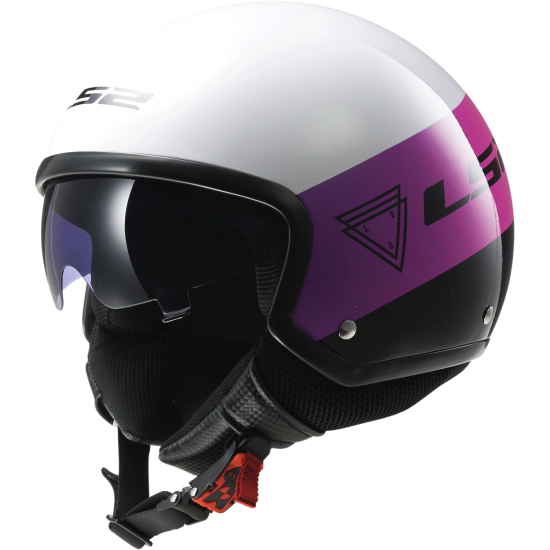 Casco jet LS2 OF561 Wave Beat Rosa Fluo