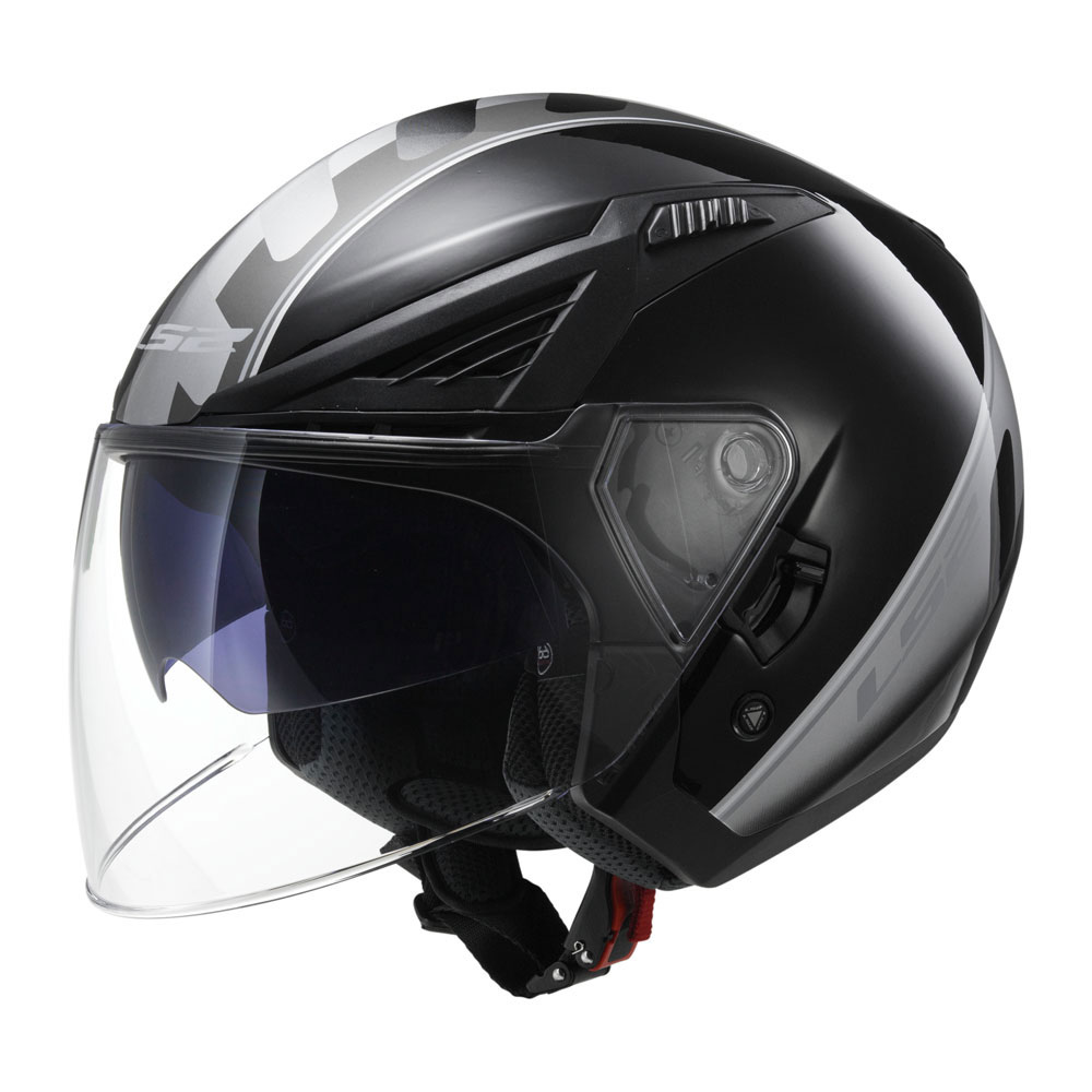 Casco jet LS2 OF586 Atom Nero Titanio