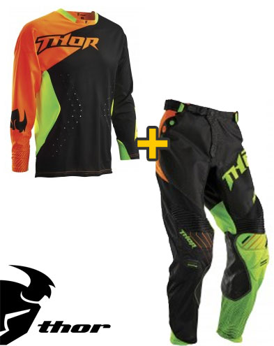 Kit Cross Thor Core Air Divide - Maglia+ Pantaloni - nero fluorescent