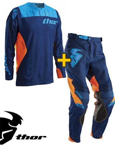 Kit Cross Thor Core Contro - Maglia+ Pantaloni - navy arancio