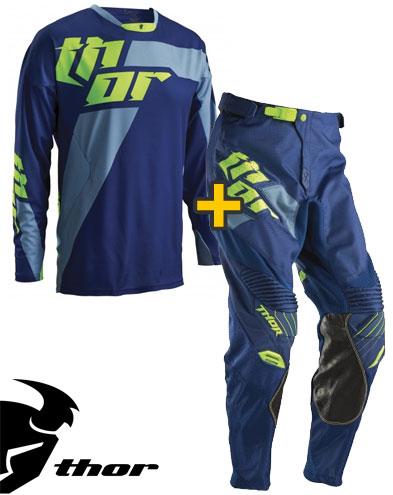 Kit Cross Thor Core Merge - Maglia+ Pantaloni - navy lime