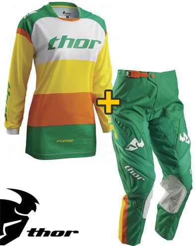 Kit Cross donna Thor Phase Bonnie - Maglia e Pantaloni - verde giallo
