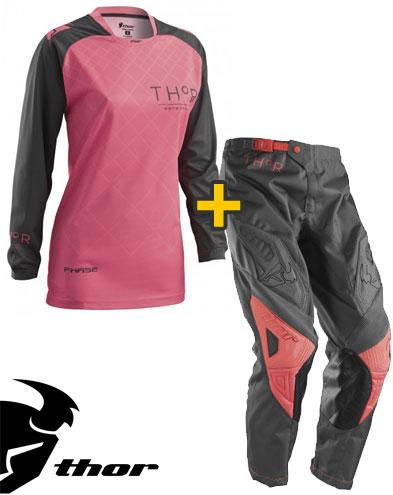 Kit Cross donna Thor Phase Clutch - Maglia e Pantaloni - charcoal corallo