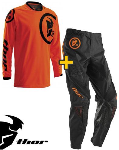 Kit Cross Thor Phase Gasket - Maglia e Pantaloni - arancio fluo nero
