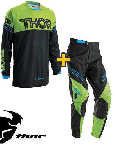 Kit Cross Thor Phase Hyperion - Maglia e Pantaloni - nero verde