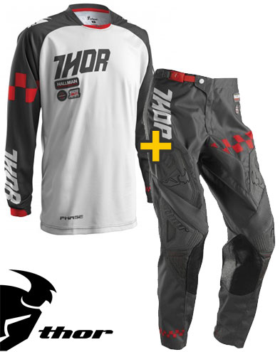 Kit Cross Thor Phase Ramble - Maglia e Pantaloni - charcoal bianco