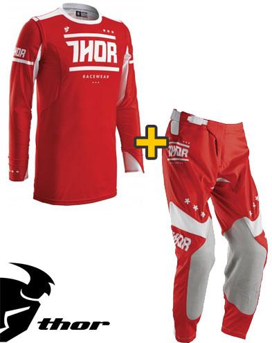 Kit Cross Thor Prime Fit Squad- Maglia+ Pantaloni - rosso bianco
