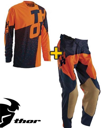 Kit Cross Thor Prime Tach- Maglia+ Pantaloni - nero arancio fluo