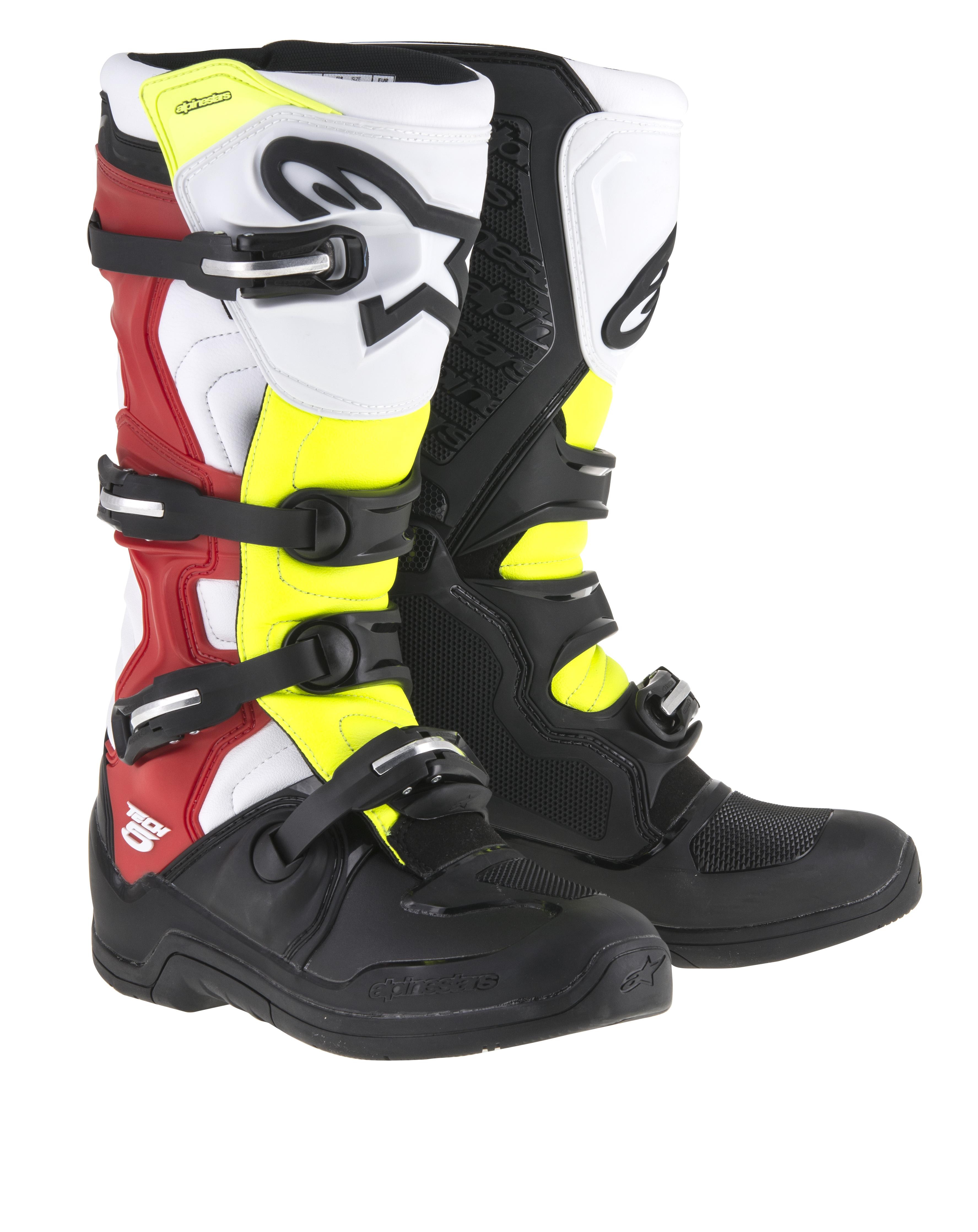 Stivali cross Alpinestars Tech 5 nero bianco rosso giallo