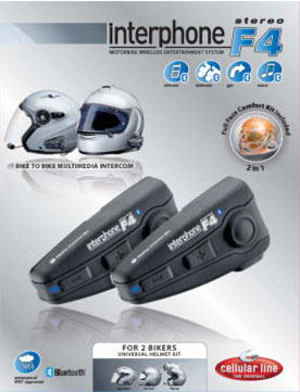 Interfono F4 Stereo Plus Bluetooth- kit coppia Cellular Line