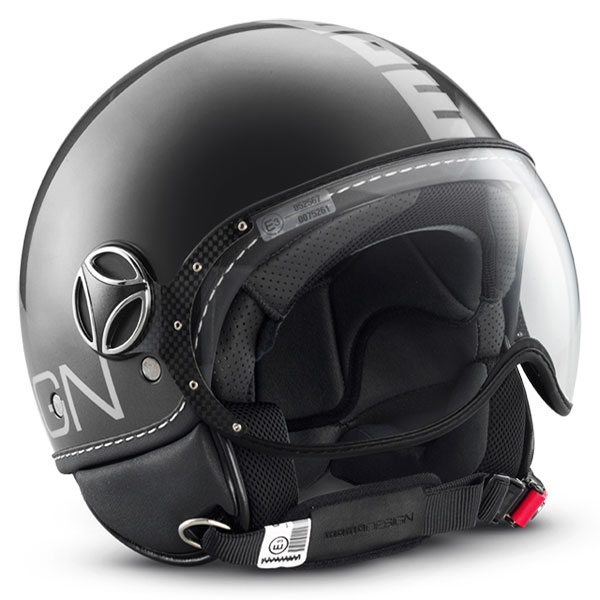 Casco jet Momo Design Fighter Titanio lucido argento
