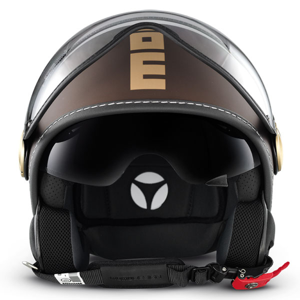 Casco jet Momo Design Fighter Tabacco opaco oro