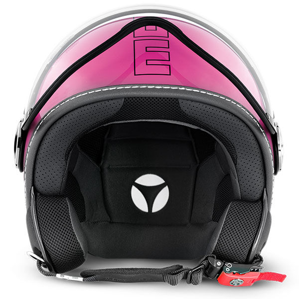 Casco jet Momo Design Fighter Glam Rosa Lucido