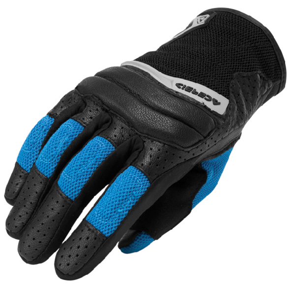 Gloves leather and fabric Acerbis Brandish Black Blue