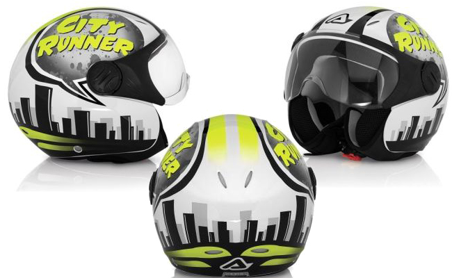 Acerbis X-JET City Runner jet helmet white-yellow