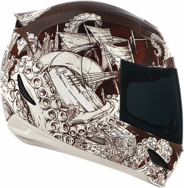 Full Face Helmet Icon Airmada Colossal White Brown