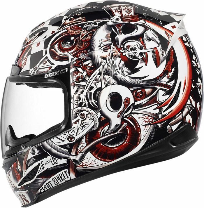 Full Face Helmet Black Red Icon Airmada Seance