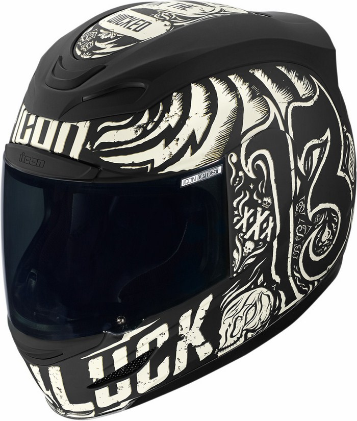 Full Face Helmet Icon Hard Luck Airmada Black