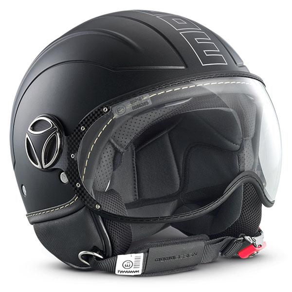 Avio Momo Design Jet Helmet Black Matte silver outline