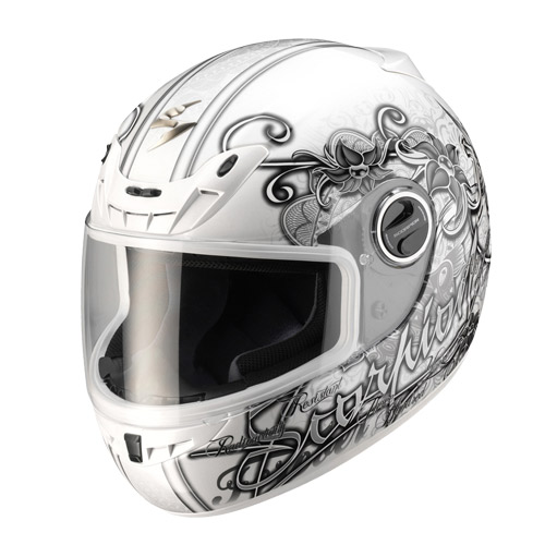 Scorpion Exo 400 Ann full face helmet Pearl White