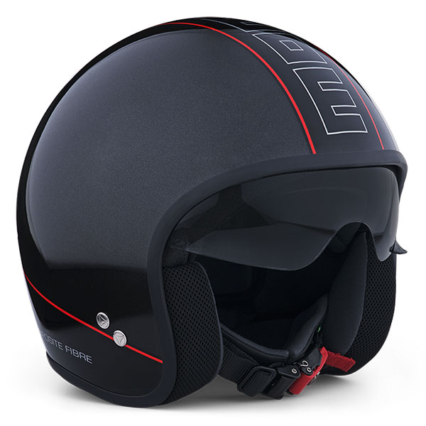 Jet Helmet Momo Design Cruiser Anthracite Polished Black Red