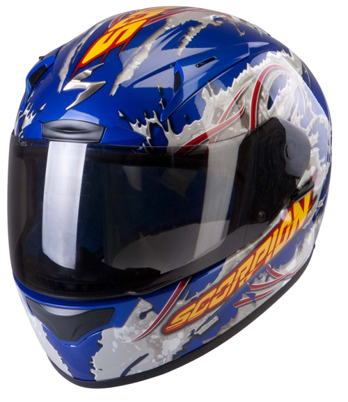 Casco integrale Scorpion Exo 2000 Air Powergy Blu Metal Grigio