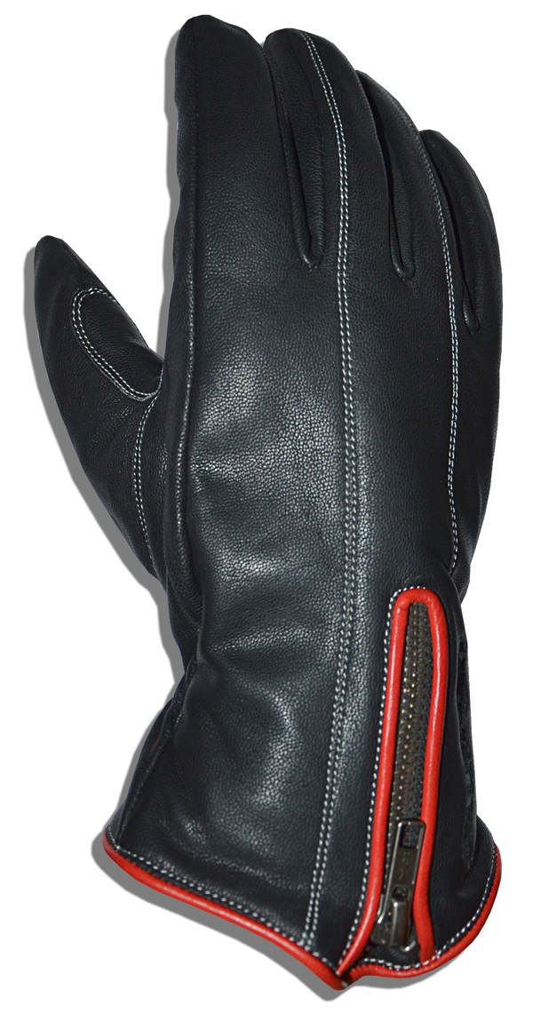 Motorcycle Gloves Leather Glove Black T-Jollisport