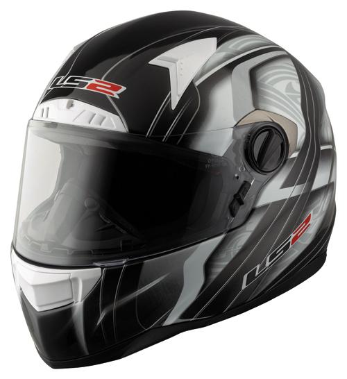 "Casco moto in fibra LS2 FT2 Split con ""Air-Go System""nero-bianco"