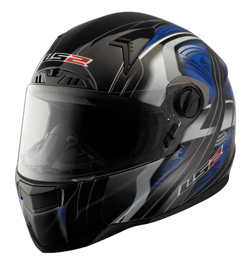 "Casco moto in fibra LS2 FT2 Split con ""Air-Go System"" nero-blu"