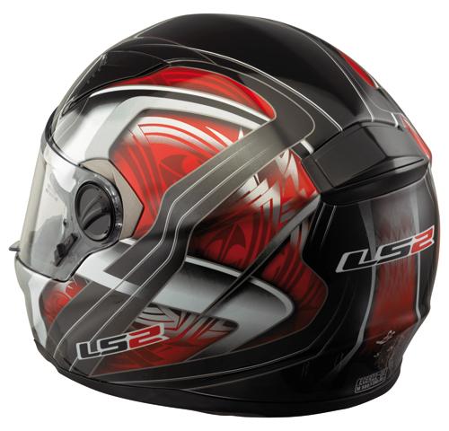 """Casco moto in fibra LS2 FT2 Split con """"Air-Go System"""" nero-rosso"""