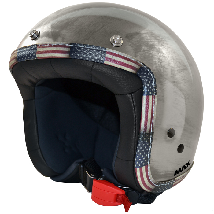 Casco jet Max Flag USA Cromo Acciaio