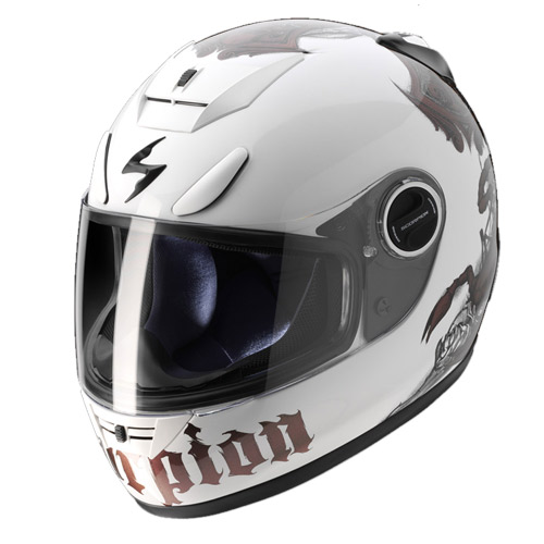 Casco integrale Scorpion Exo 750 Air Scorpion Bianco Camaleonte