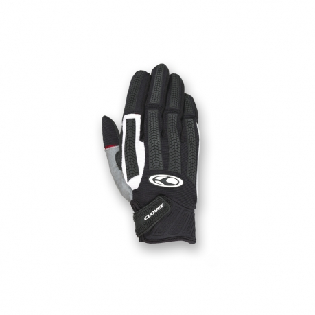 Motorcycle Gloves Black White Clover FRC