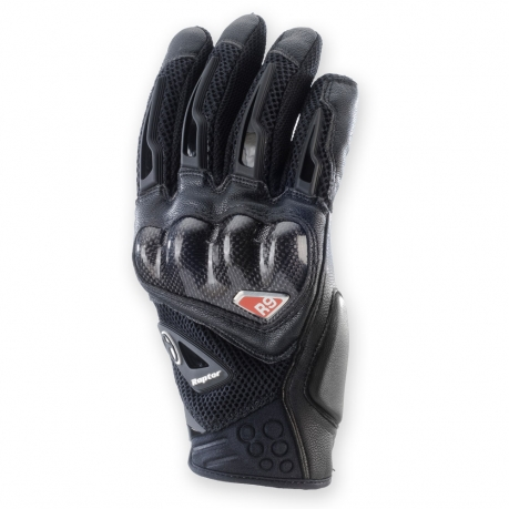Leather motorcycle gloves summer Clover R-9 Raptor Black
