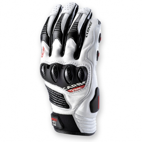 Leather Motorcycle Gloves White Black Clover RSC-2