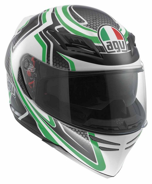 Agv Horizon Multi Racer fullface helmet white-carbon-green