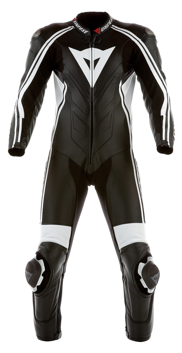 Dainese Stripes Prof summer leather suit black-white