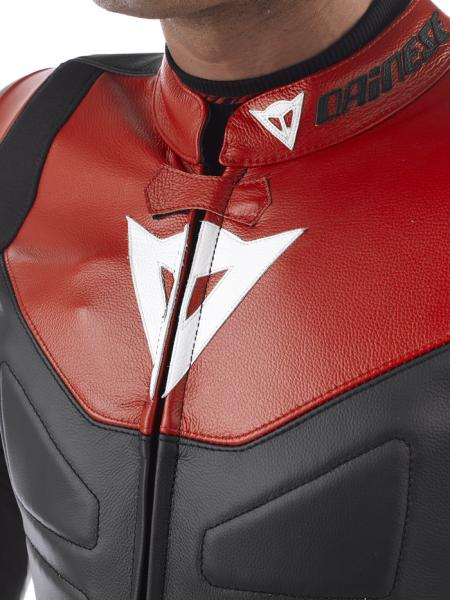 Dainese AVRO DIV. leather divisible suit Black-White-FluoRed