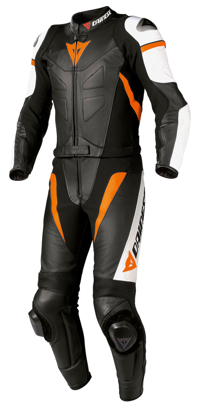 Divisible leather biker motorcycle jacket Dainese Avro Orange Bl