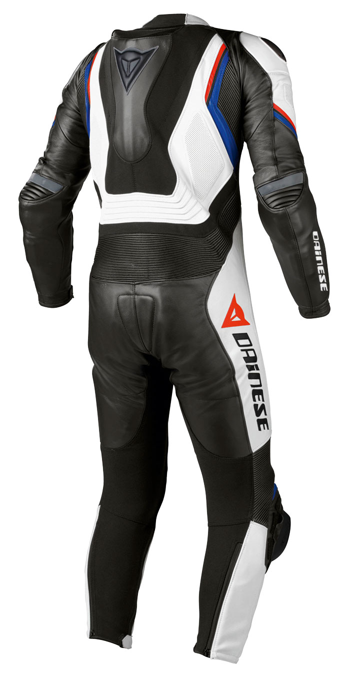 Leather biker motorcycle jacket Dainese Aspide Black White Blue