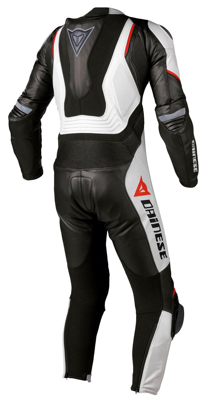 Leather biker motorcycle jacket Dainese Aspide Black White Red