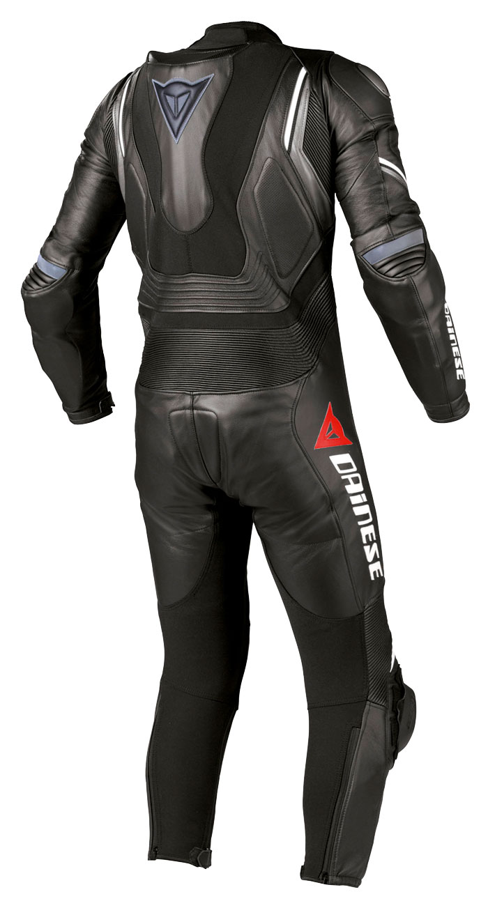 Leather biker motorcycle jacket Dainese Aspide Black Anthracite