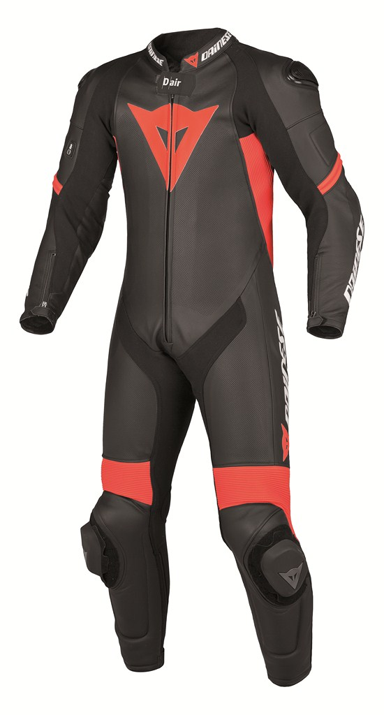 Dainese laguna S-Pred Pro Leather suit black-red fluo