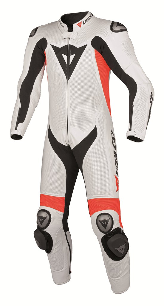 Dainese Team P. Estiva women Leather suit white-red fluo