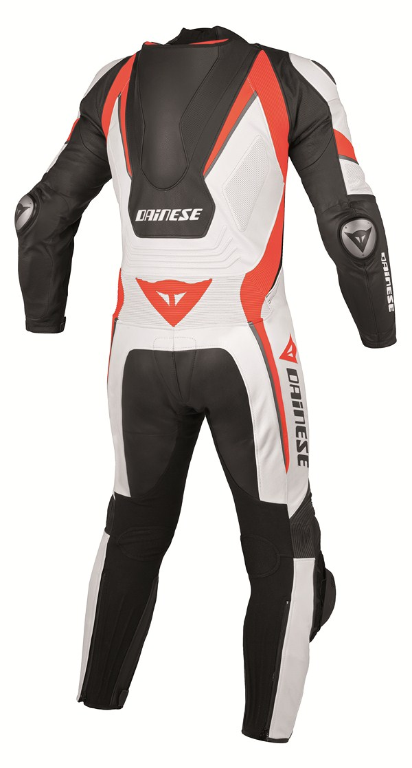 Dainese Aero Evo P. leather suit black black white red fluo