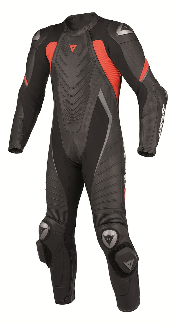 Dainese Aero Evo P. leather suit black black black red fluo