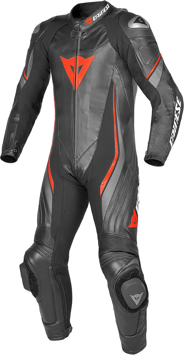 Dainese leather motorcycle suit summer Trickster Evo Black red